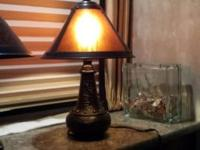 TWO DALE TIFFANT ACCENT LAMPS WITH MICA SHADE. REALLY