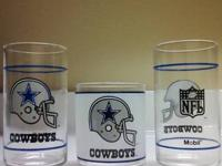 Set of 2 Dallas Cowboy Frosted Drinking