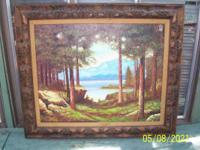 Dan Porter Painting woods overlooking lake with custom
