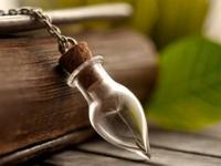Dandelion seeds Handmade Wish Necklace in Handblown