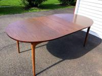 Trendy vintage 1960s dining table with solid wood legs