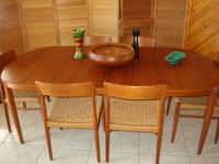 "Danish Teak 7 Piece Dining Set - Table 59"" Long x 41"