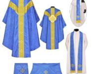 Dark Blue Gothic Vestment & Complete Mass Set - CASH