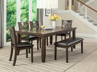 This Dark Brown dining group has crisp lines and a dark