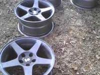 "Set of 5 lug 17"" Mustang Cobra Rims. All have real"