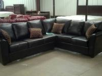 New Leather 2 piece sectional Dark brown very nice ONLY