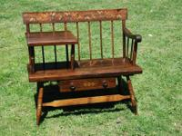 DARK PINE STENCILED BENCH WITH DRAWER AND SHELF