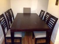 I am selling this beautiful dining set. Dark tone