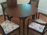 120 obo. I have a dark wood Bombay table with 4 chairs.