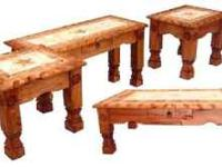 solid wood rustic dark finish coffee table set, with
