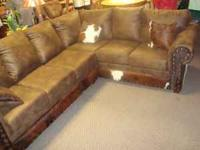 2pc Sectional microfiber with cowhide, 3 cowhide