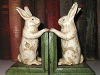 This charming set of cast iron white rabbit bookends