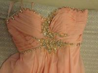 Size 3/4 Dave and Johnny long pink gown with beading on