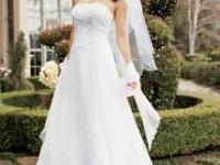Chiffon A-line gown with side draped bodice, beaded