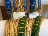 Dazzling Bangle Sets in Gold with Blue or Green $22