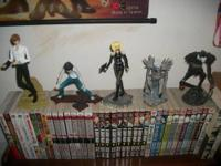 The figures include: Light, L, Misa, Ryuk, Rem, and a