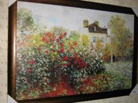 These three deco art prints on hardboard by Monet,