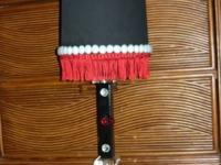 THIS COOL LAMP RETAILED FOR 65.00. RED FRINGED BLACK