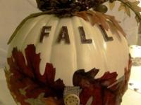 "This one-of-a-kind pumpkin, decorated with ""Fall"""