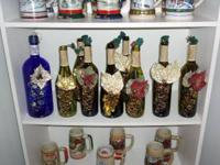 Beautiful lighted wine bottles, choice of colors made