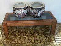 "Decorative Asian Decor Planters. 12 "" high 14"" across."