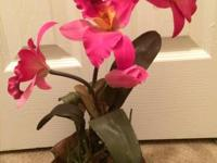 Decorative Deep Pink Silk Orchid w/ Stationary Pebbles