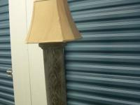 "HEAVY, DECORATIVE LAMP AND SHADE. 35 "" HIGH"