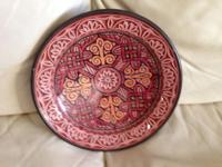 "Decorative Pottery Bowl Made in Morocco 10 3/4"" round."
