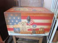 Wood decorative storage space box painted with flag and