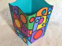 Colorful hand-painted waste basket. One of a kind