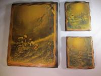 We have this 3 piece decoupage picture set on wood that
