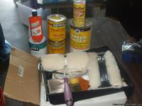 woolie decorative paint kit never used and 2 cans of