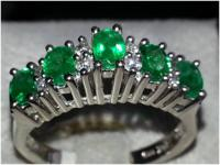 Lovely Deep Green Tourmaline and Diamond Ring !!  14kt