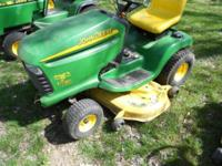 AWESOME running LT-180 John Deere mower. Engine purrs
