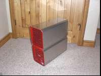 Awesome stainless steel computer case with red slats on