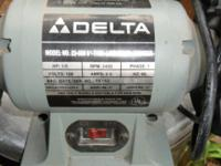 "Delta Bench Grinder model 23-660 6"" wheels. In very"