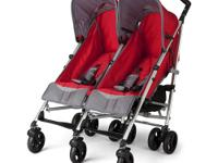 This Red/Grey LX Side X Side Stroller has a unique