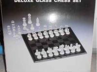 "Deluxe Glass Chess Set Mirror board 3"" King Chessmen"