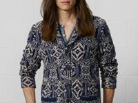This rustic shawl-collar cardigan is crafted from