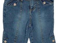These pedal pusher style streaky stretch denim Capri's