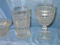 "VINTAGE GLASSWARE: ""Thumb print"" Depression glassware."