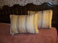 Two designer pillows - 4 soft shades of gold stripes.