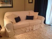 Beautiful Ivory Slip Covered Sofa Like New  $400 OBO