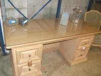 This is a beautiful pine desk with a glass top. Must