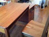 Oak cabinet, desk, and chair offered for pick up for