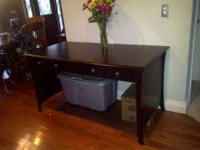 Dark Cherry Desk w/ matching bookshelf. like new