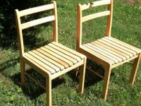 Solid wood slatted chair is the perfect compliment to a