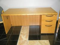 KIMBALL EXECUTIVE WOOD DESK, 2 MATCHING SIDE CHAIRS,