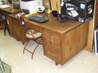 Large Walnut desk - 2 shelves and 6 drawers with key -