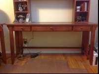 Wooden desk and accompanying hutch - excellent use for